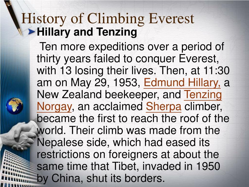 History of Climbing Everest