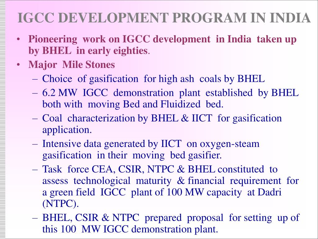 IGCC DEVELOPMENT PROGRAM IN INDIA