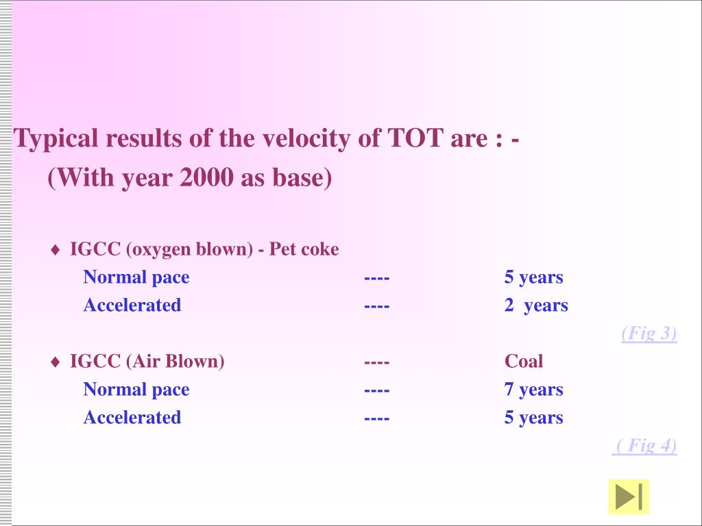 Typical results of the velocity of TOT are : -