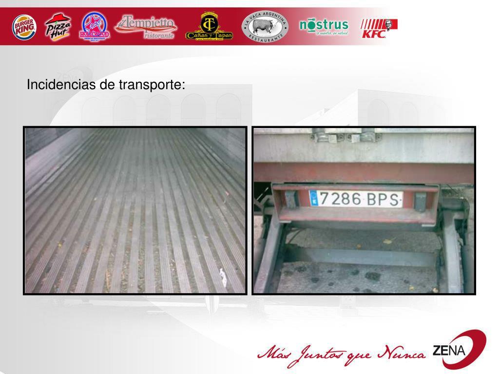 Incidencias de transporte: