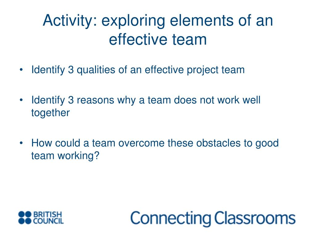 Activity: exploring elements of an effective team