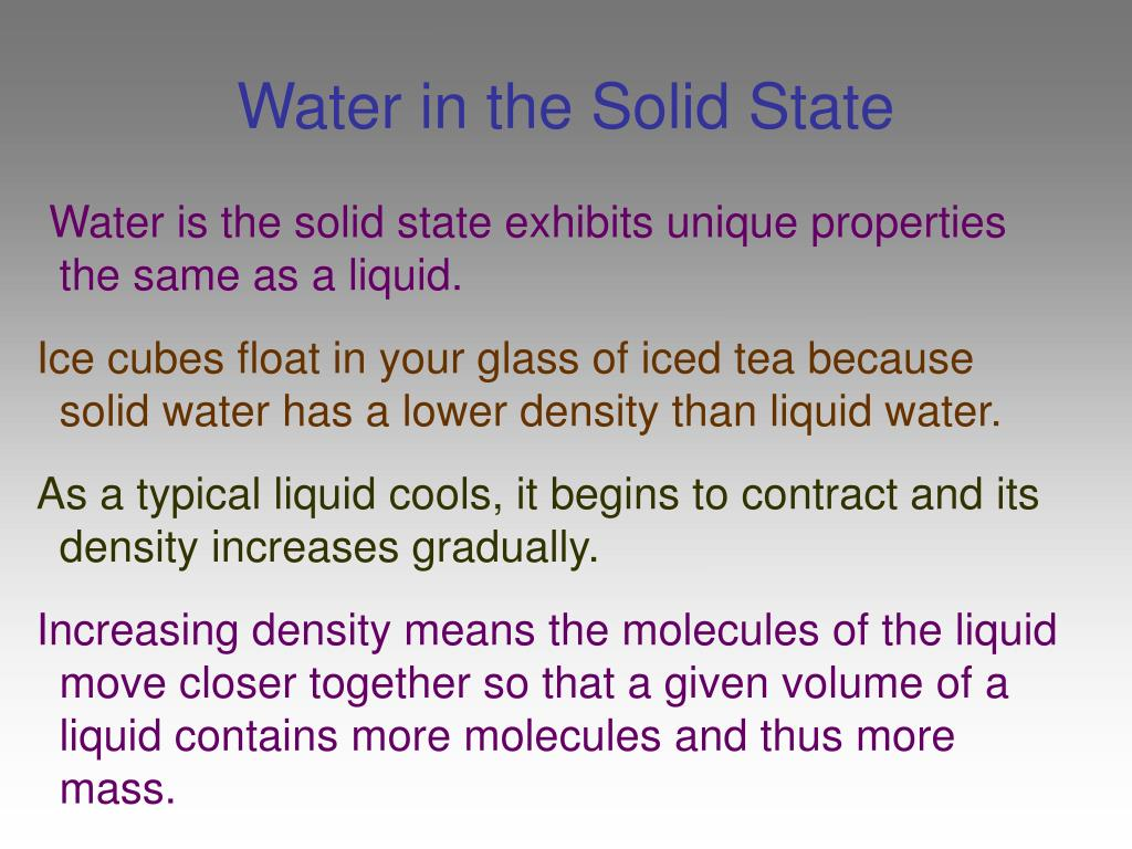 Water in the Solid State