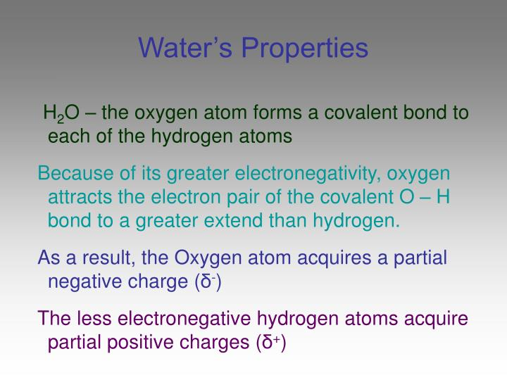 Water s properties