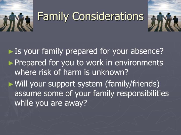 Family Considerations