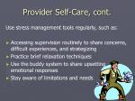 provider self care cont