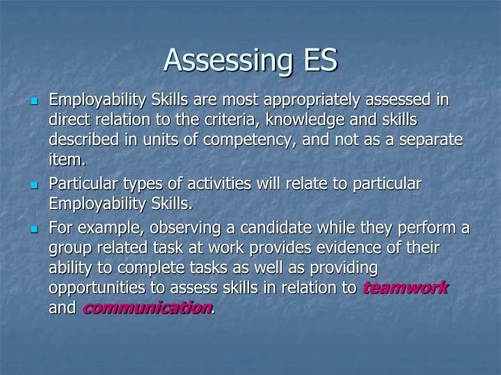 Assessing ES