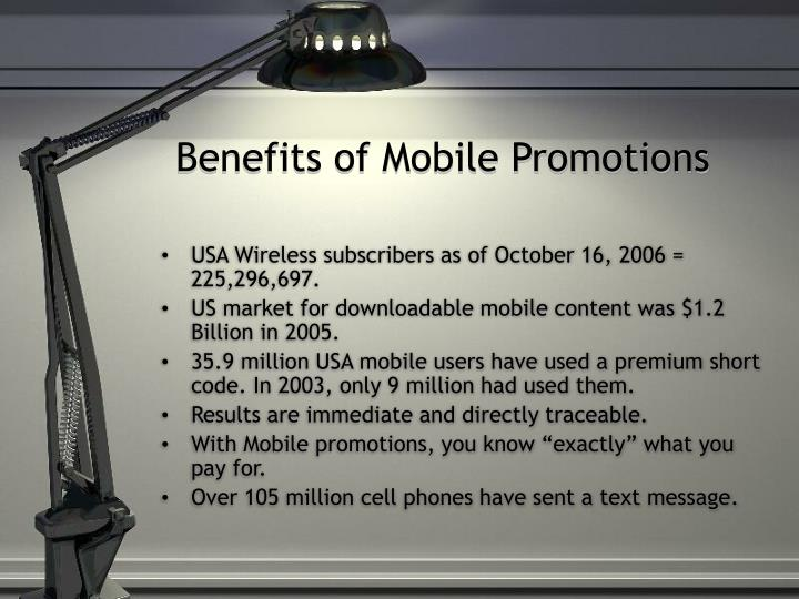 Benefits of mobile promotions