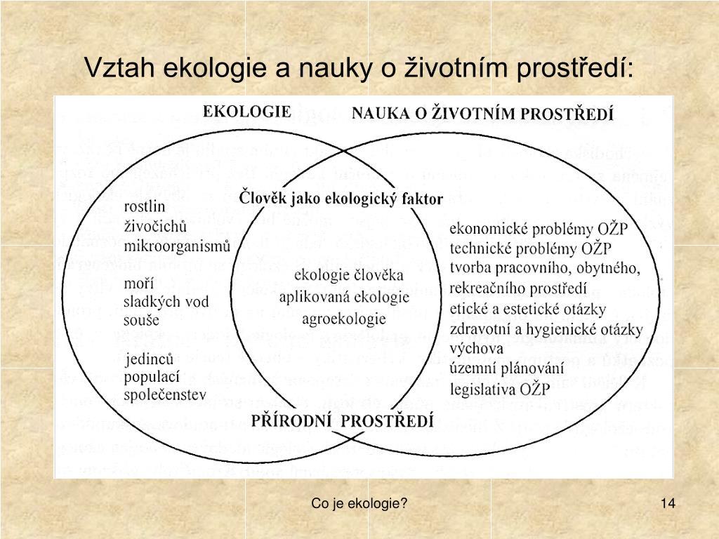 Vztah ekologie a nauky o životním prostředí: