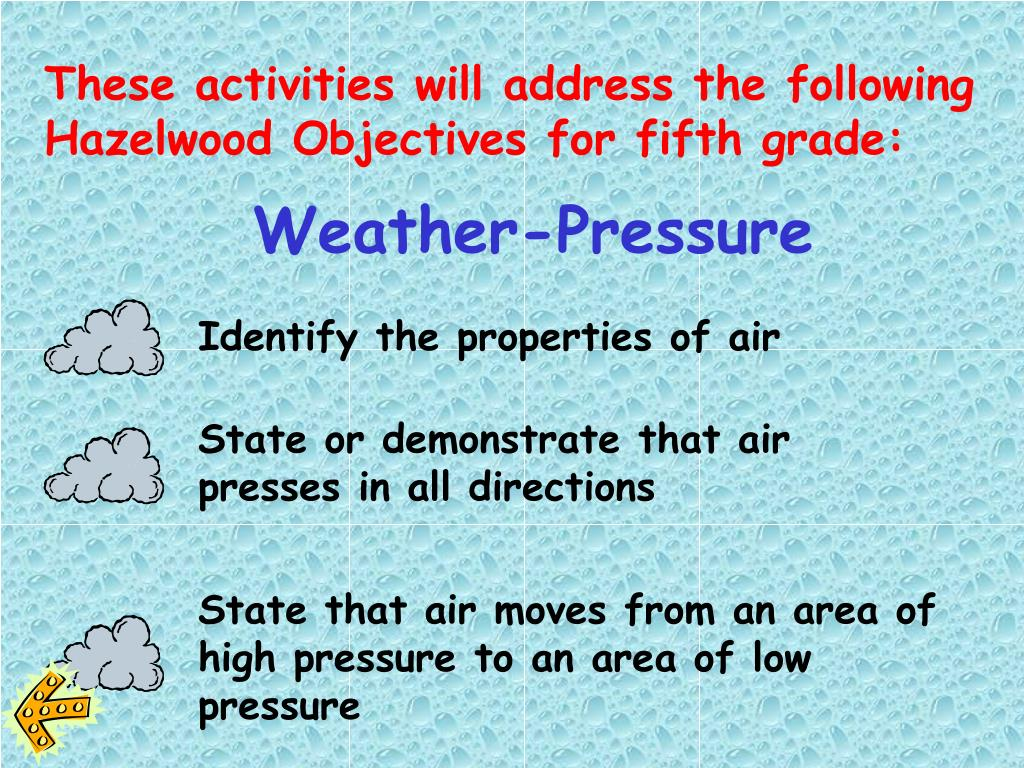 These activities will address the following Hazelwood Objectives for fifth grade: