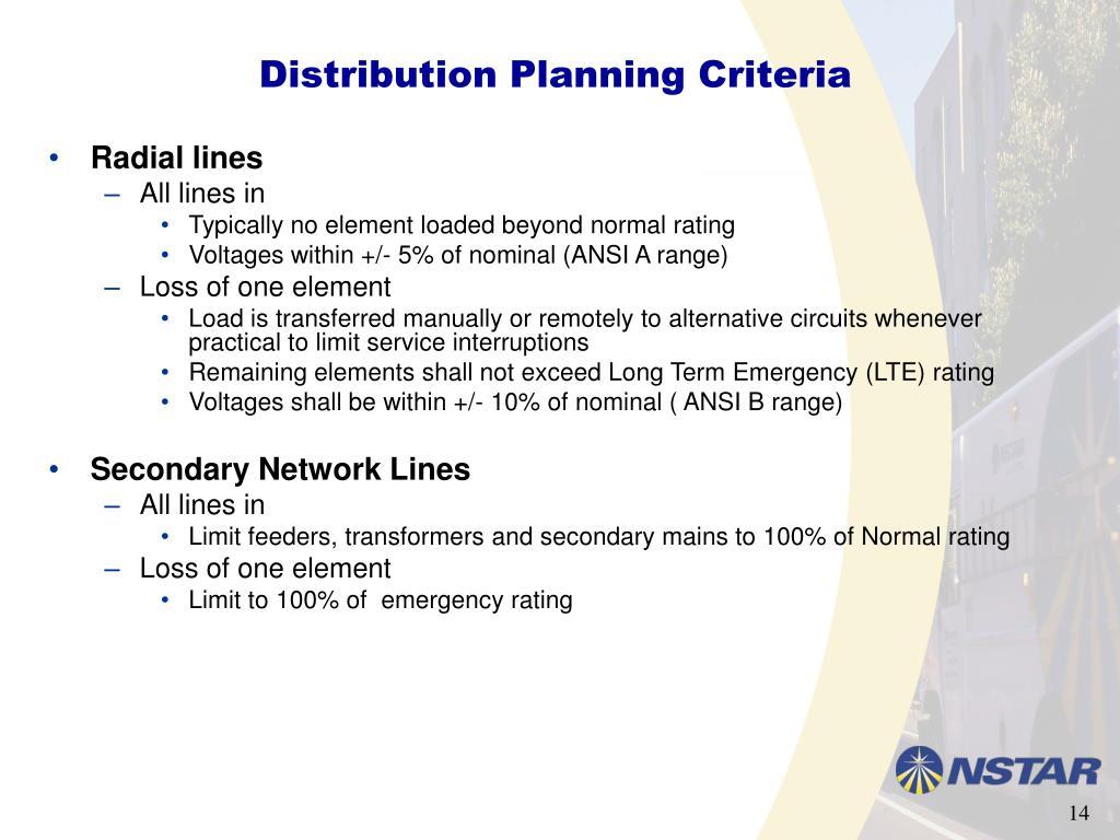 Distribution Planning Criteria