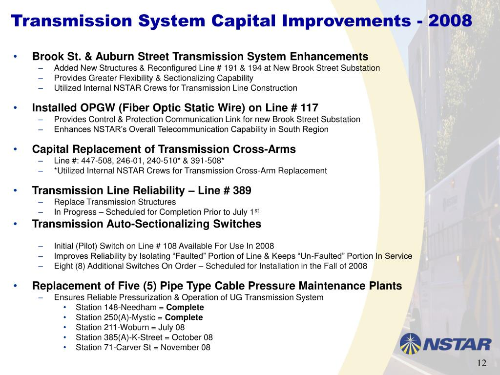 Transmission System Capital Improvements - 2008