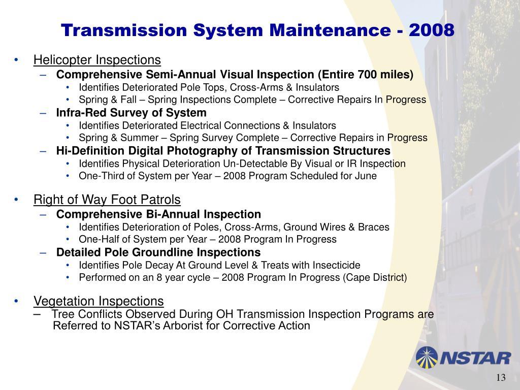 Transmission System Maintenance - 2008