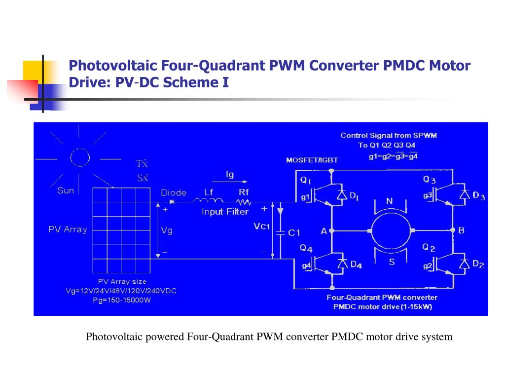 Photovoltaic Four-Quadrant PWM Converter PMDC Motor Drive: PV