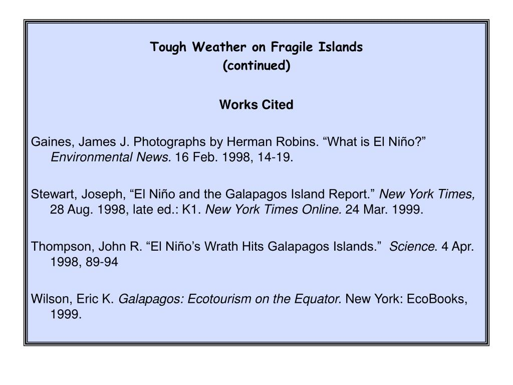 Tough Weather on Fragile Islands
