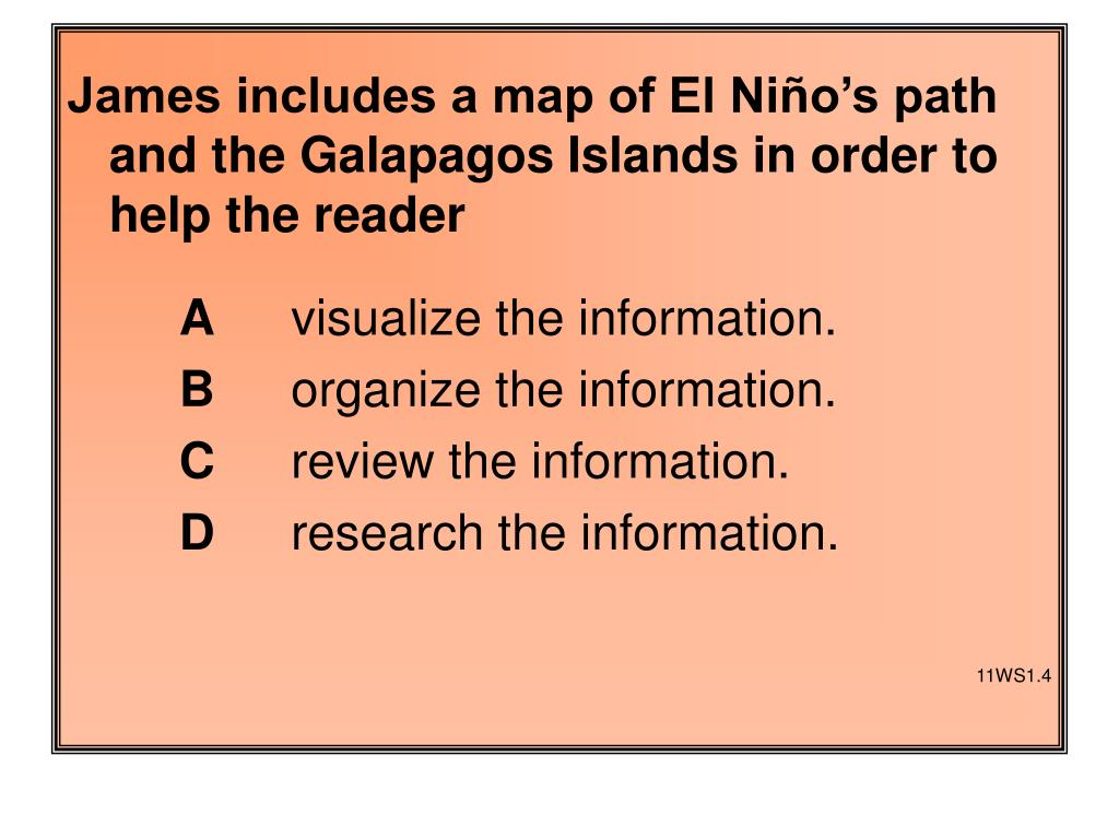 James includes a map of El Niño's path and the Galapagos Islands in order to help the reader
