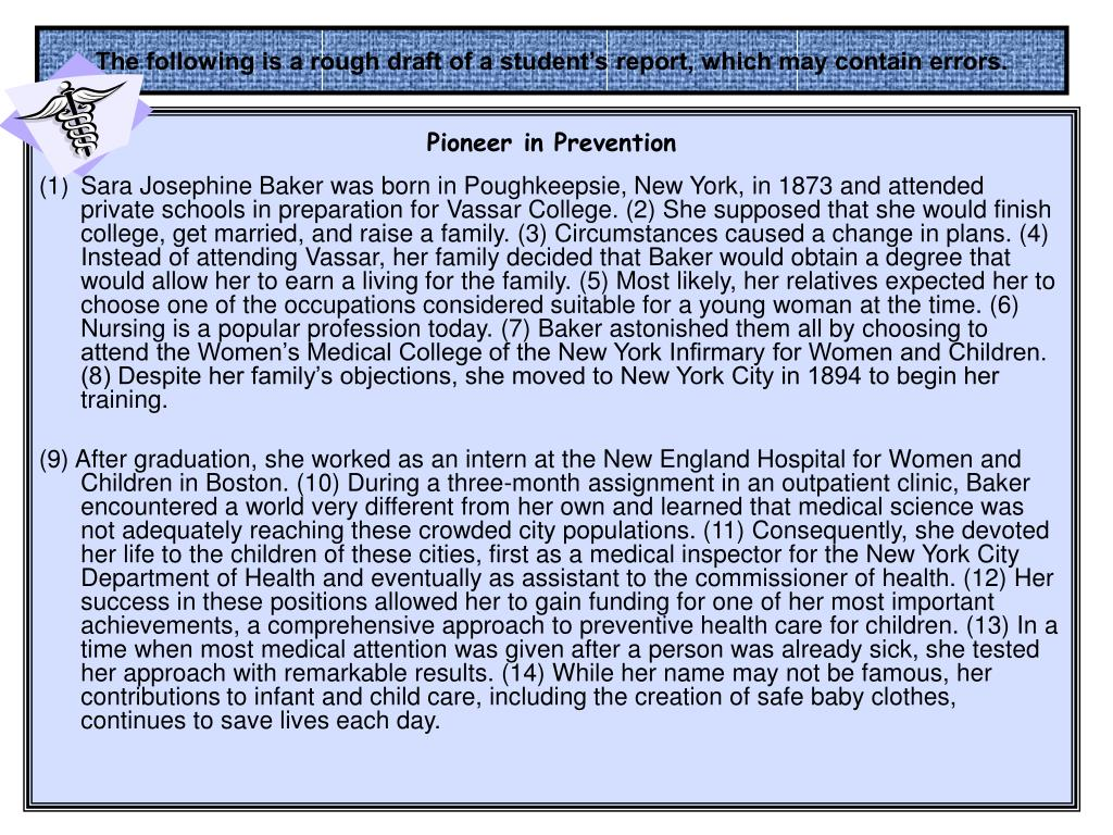 The following is a rough draft of a student's report, which may contain errors.
