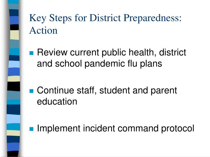 Key Steps for District Preparedness: Action
