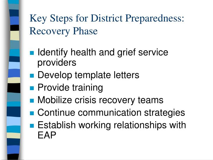 Key Steps for District Preparedness: Recovery Phase