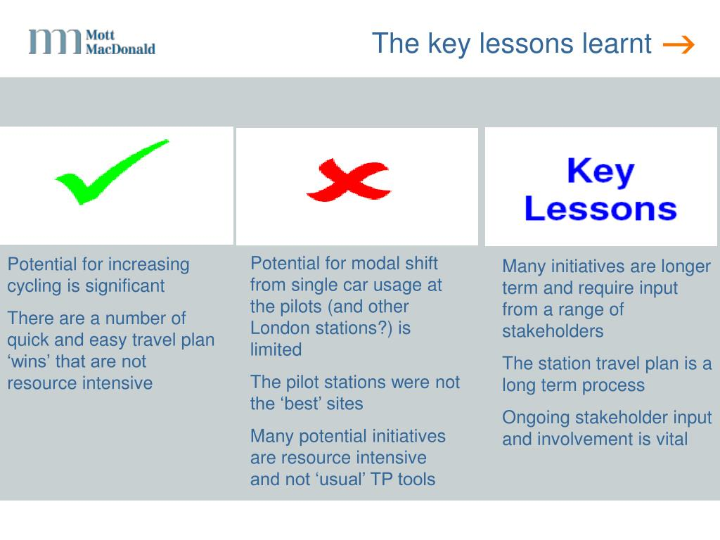 The key lessons learnt