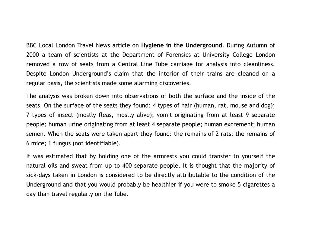BBC Local London Travel News article on