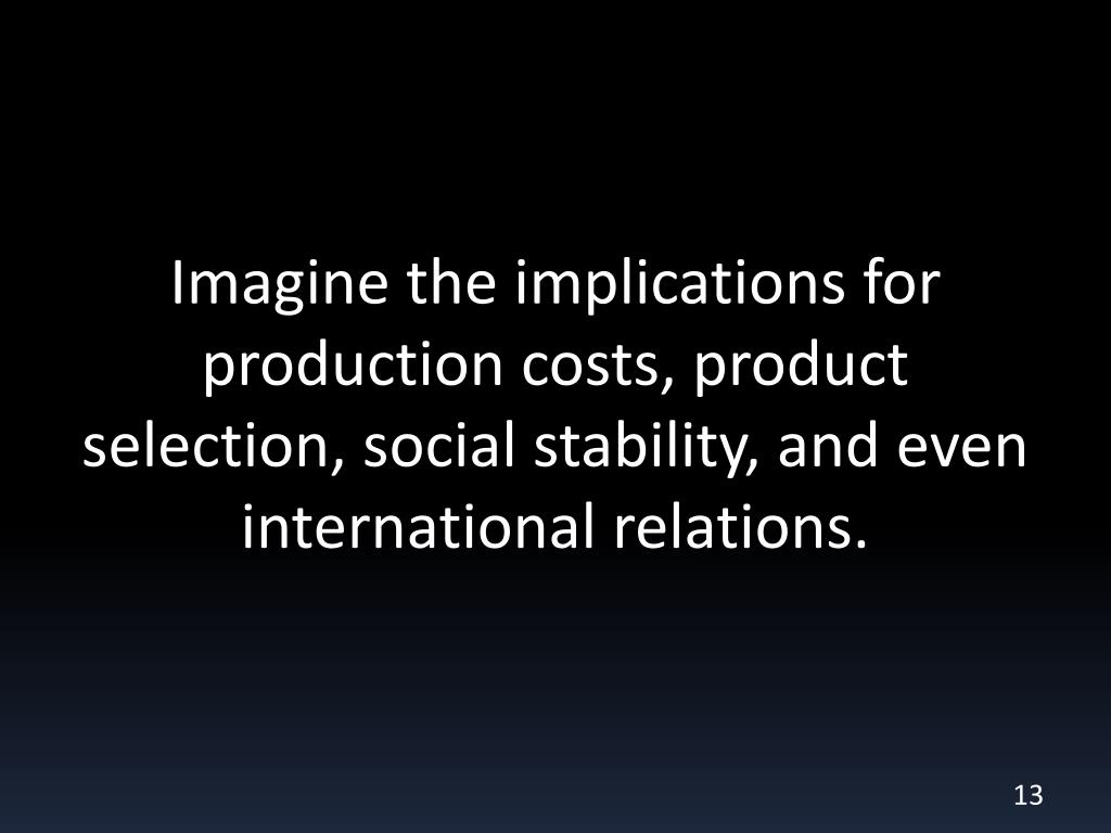 Imagine the implications for production costs, product selection, social stability, and even international relations.
