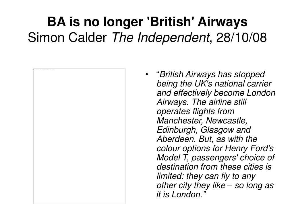 BA is no longer 'British' Airways
