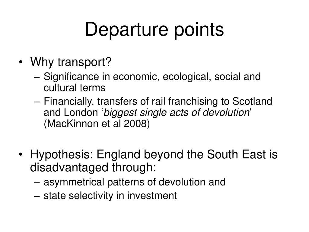 Departure points