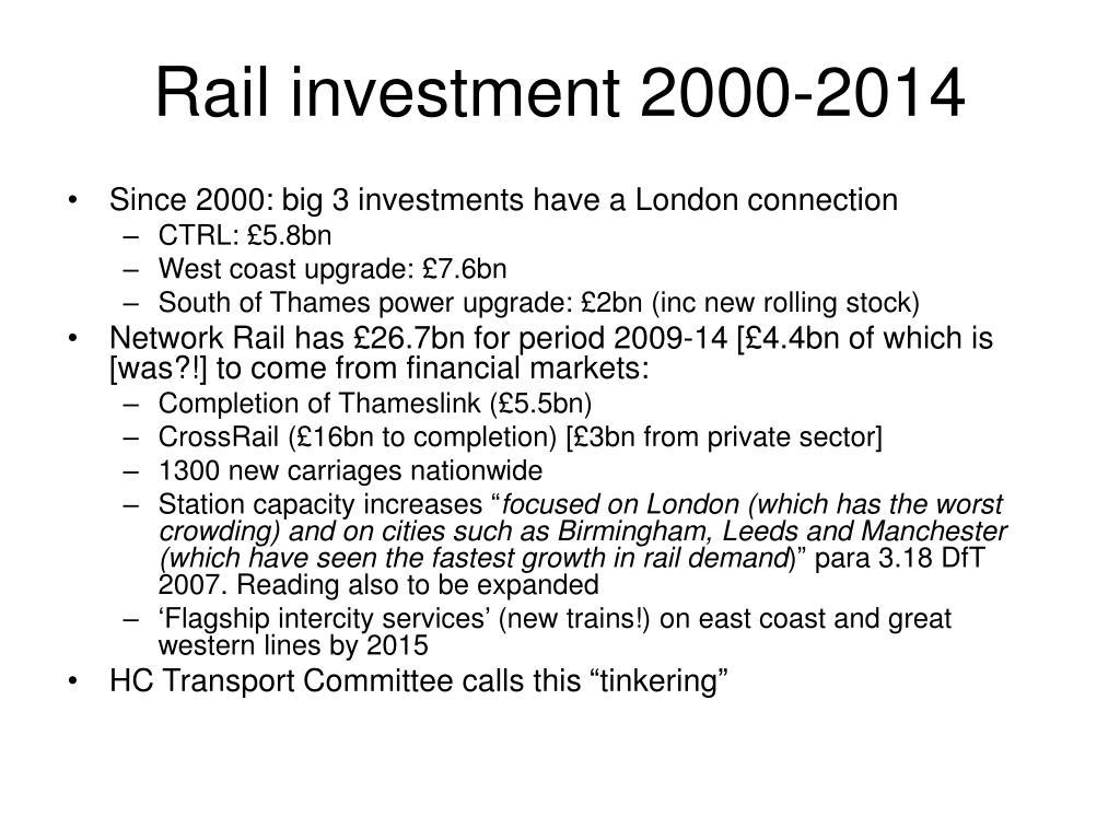 Rail investment 2000-2014