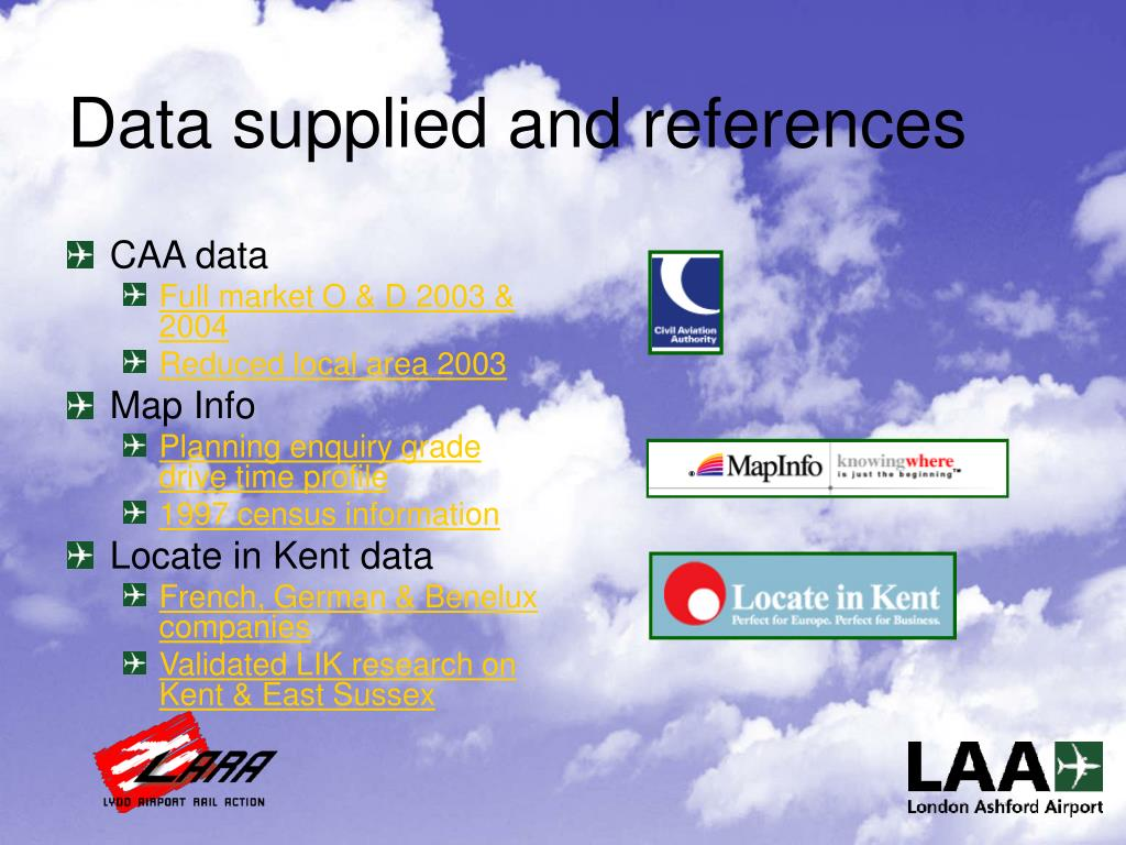 Data supplied and references