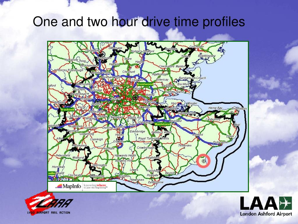 One and two hour drive time profiles
