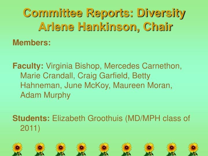 Committee Reports: Diversity