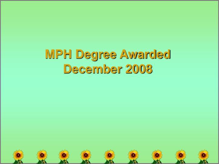 MPH Degree Awarded