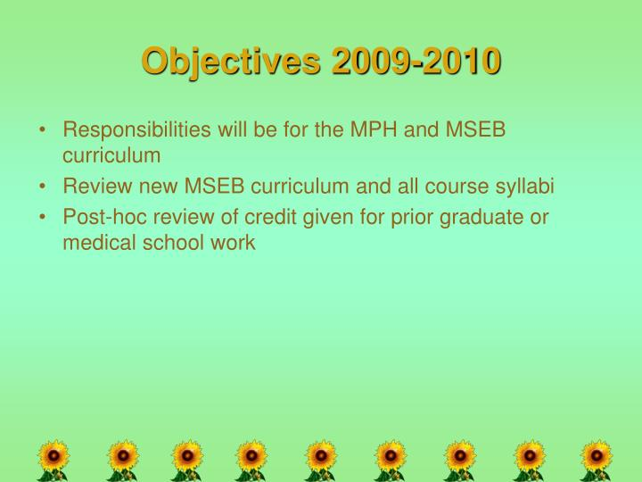 Objectives 2009-2010