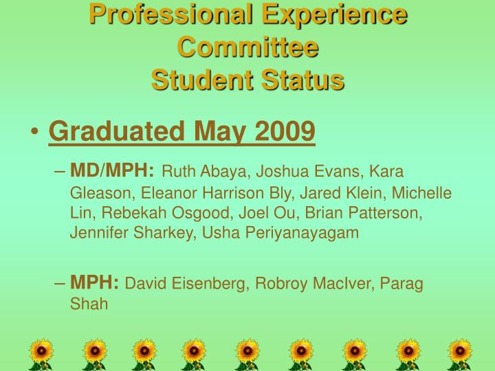 Professional Experience Committee