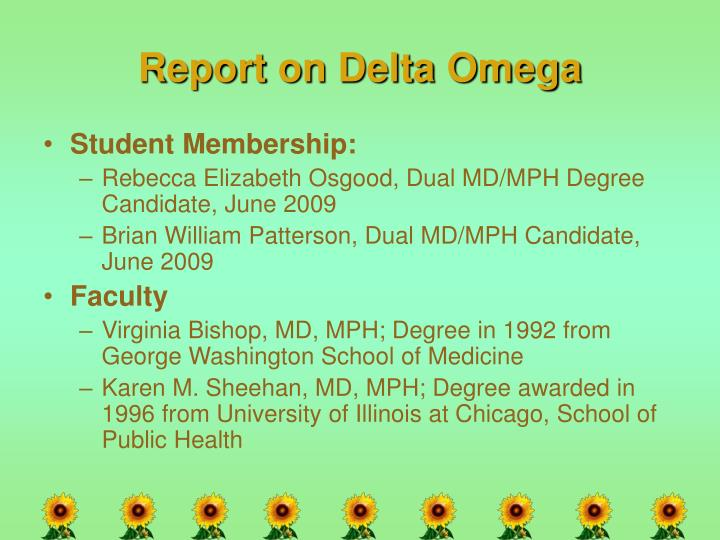 Report on Delta Omega