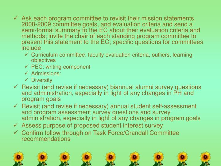 Ask each program committee to revisit their mission statements, 2008-2009 committee goals, and evaluation criteria and send a semi-formal summary to the EC about their evaluation criteria and methods; invite the chair of each standing program committee to present this statement to the EC; specific questions for committees include