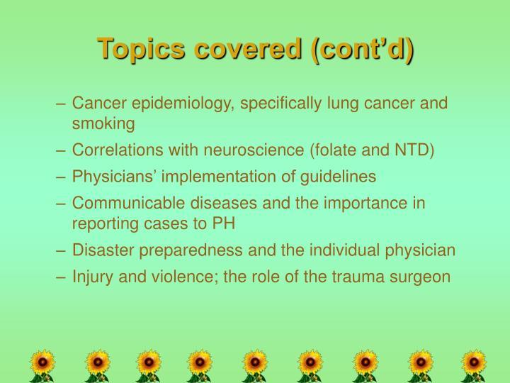 Topics covered (cont'd)