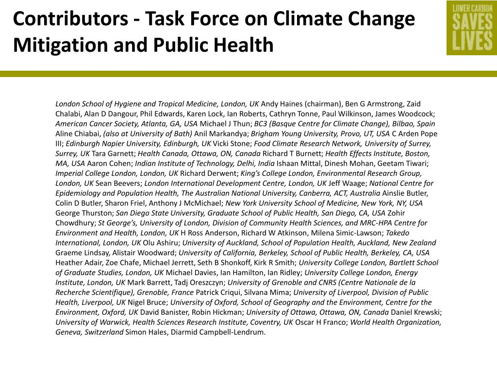 Contributors - Task Force on Climate Change Mitigation and Public Health