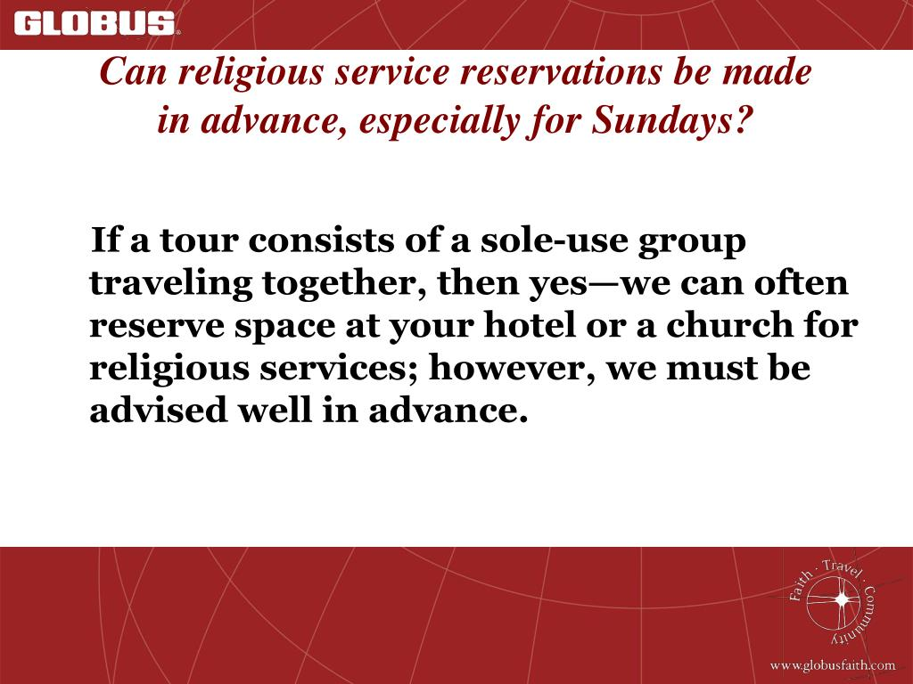 Can religious service reservations be made