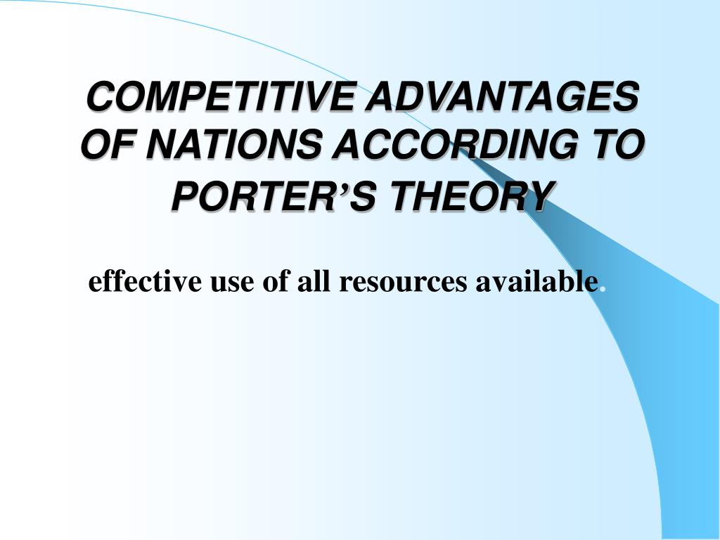 porter diamond russia National competitiveness country's competitiveness and raise the standard of living using the frameworks and research of director michael porter russia.