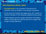 how nutrients affect lakes