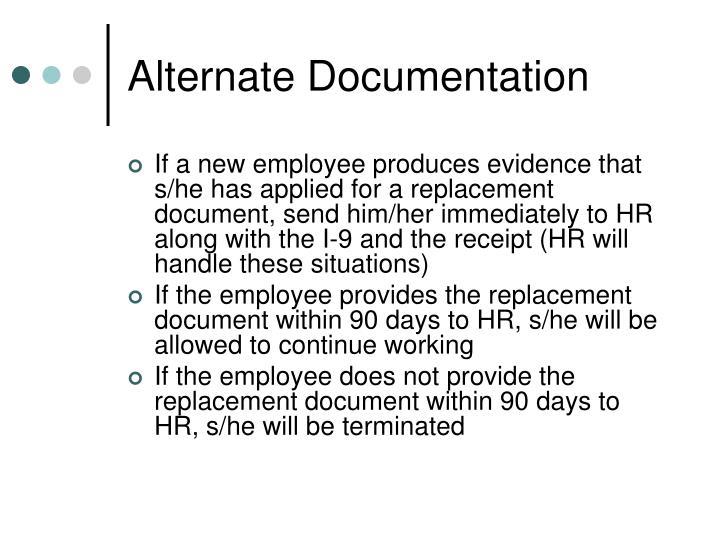 Alternate Documentation