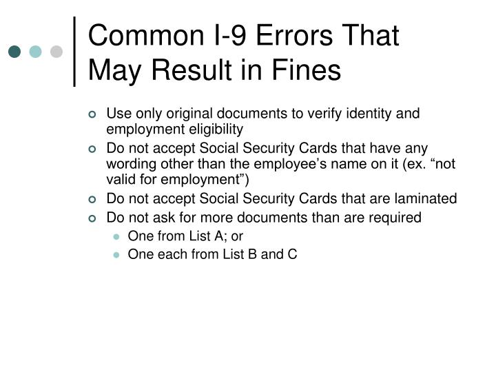 Common I-9 Errors That May Result in Fines