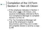completion of the i 9 form section 2 non us citizen