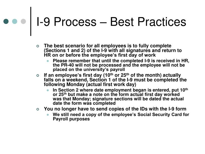 I-9 Process – Best Practices