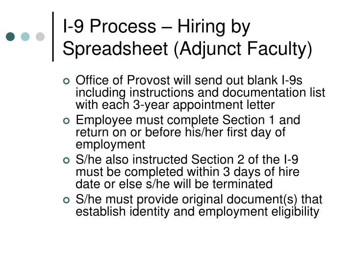 I-9 Process – Hiring by Spreadsheet (Adjunct Faculty)