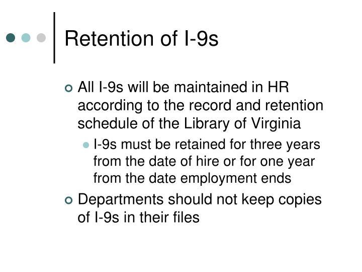 Retention of I-9s