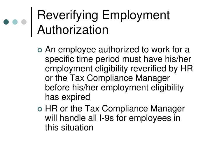 Reverifying Employment Authorization