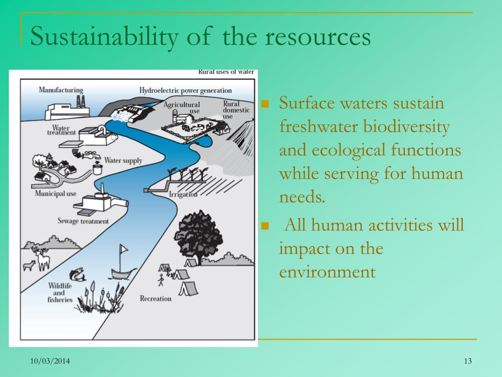Sustainability of the resources