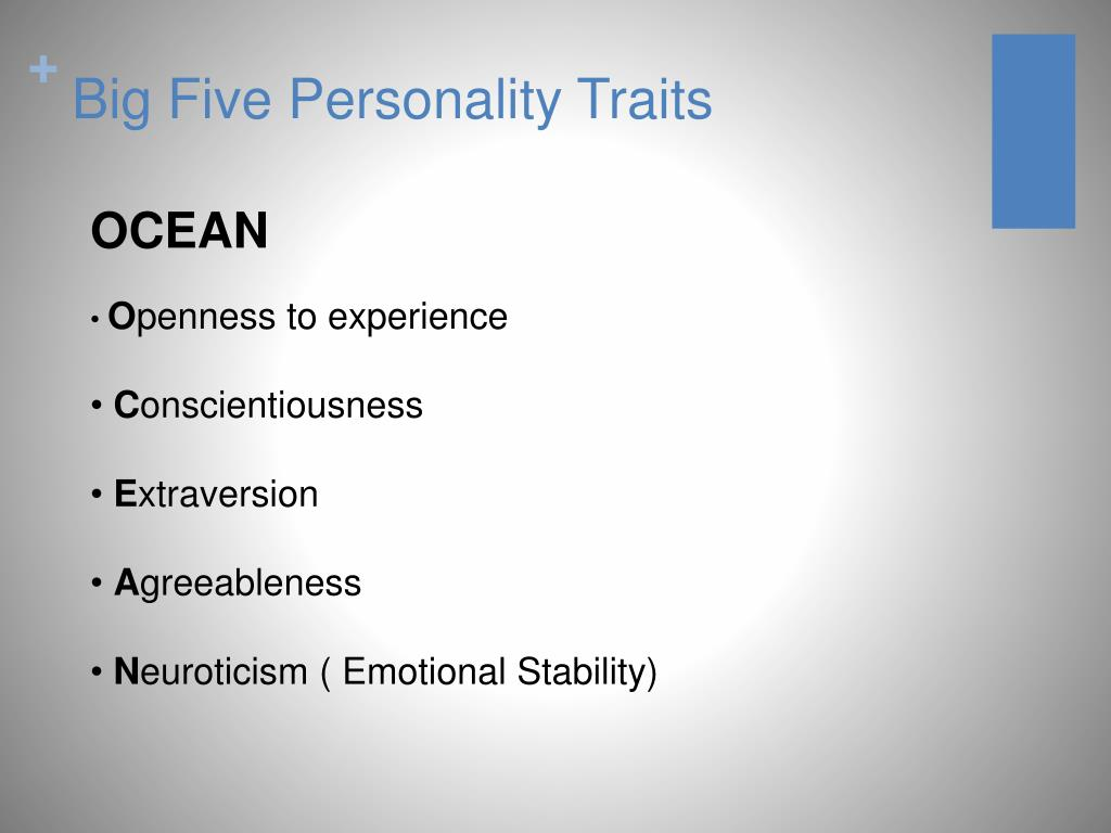 big five personality model Five factor personality test the five factor model of personality the five factor model (also known as the big 5) is based on the idea that five main.